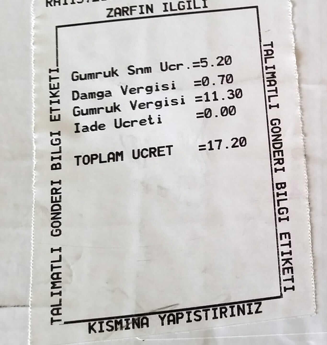 PTT Kargo Gümrüğe Sunma Ücreti Görseli